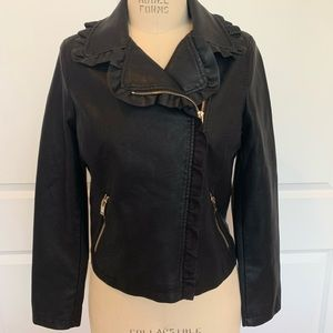 Ruffle Trim Black Faux Leather Jacket